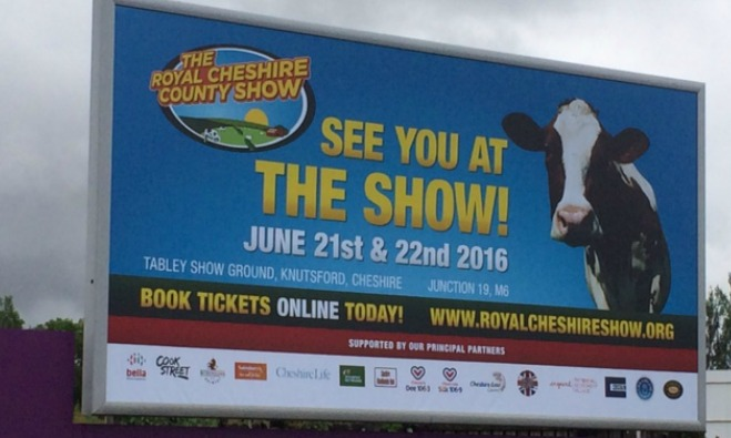 Royal Cheshire Show billboard Bella article